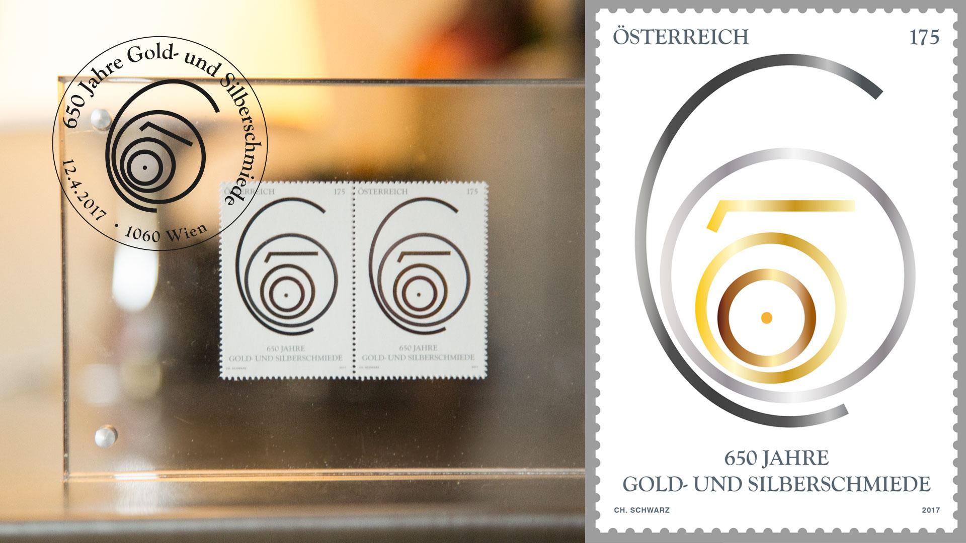 Die Jubiläumsbriefmarke der 650 Jahre Gold- und Silberschmiede
